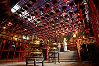 Interiors of a temple, Man Mo Temple, Hong Kong, China
