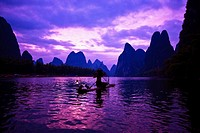 Wooden raft in a river, Li River, XingPing, Yangshuo, Guangxi Province, China