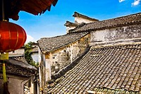 High angle view of a rooftop, Xidi, Anhui Province, China