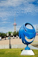Sculpture in front of a tower, Oriental Pearl Tower, Shanghai, China