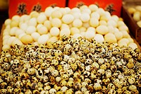 Quail eggs at a market stall, Tai'an, Shandong Province, China