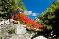 Low angle view of a bridge decorated with Chinese lanterns, Emerald Valley, Huangshan, Anhui Province, China