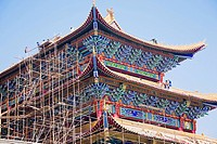 Low angle view of a building under repair, HohHot, Inner Mongolia, China
