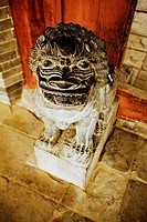 High angle view of a statue of a lion, Songyang Academy, Shaolin Monastery, Henan Province, China