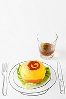 Ketchup and plastic hamburger on drawing of plate, glass of whisky nearby