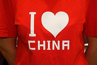 I Love China written on a t_shirt worn by a woman, Hefei, Anhui, China