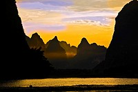 Silhouette of the rocks at the riverside, Li River, XingPing, Yangshuo, Guangxi Province, China