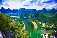 Aerial view of a river, Li River, XingPing, Yangshuo, Guangxi Province, China