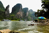 Tourboats in a river, XingPing, Yangshuo, Guangxi Province, China