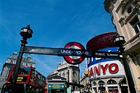 England _ London _ Soho district _ underground sign in Piccadilly Circus