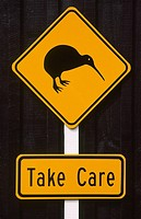 New Zealand _ North Island _ Kiwi bird, Take care signboard