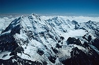 New Zealand _ South Island _ Aorangi _ Mount Cook 3754 m country's highest summit _ Mt Tasman in background _ Tasman glacier on the right