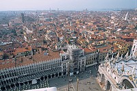 Italy _ Venice _ aerial view on the city _ Saint Mark's square and the catheral