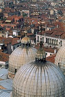 Italy - Venice - Domes of Saint Mark Basilica - aerial view - old city rooftops (thumbnail)