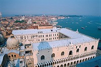 Italy _ Venice _ cityscape from the Campanile _ Doges Palace and St Marks domes