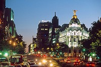 Spain _ Madrid _ Gran Via evening time _ a showcase of early 20th century architecture