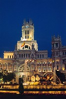 Spain _ Madrid _ The Cibeles fountain _ lit up at night _ Communications Palace