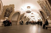 Commuters in subway station, Komsomolskaya, Moscow, Russia