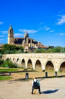 Spain _ Castile and Leon _ Salamanca _ Roman Bridge and the New and the Ancient Cathedrals _ Catedral Nueva and Catedral Vieja