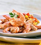 Creole gambas with papaya and mango relish