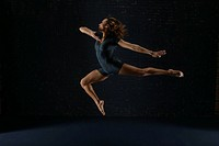 Woman performing artistic gymnastics