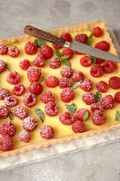 Cheesecake topped with raspberries on a marble slab
