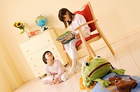 little girls reading a book, pyjama