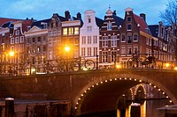 Town houses &amp; bridge, Prinsengracht, Amsterdam, The Netherlands