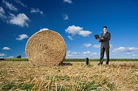 Businessman using laptop near hay bale