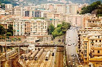 High angle view of a railway station, Brignole, Genoa, Liguria, Italy