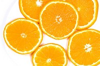 Close_up of slices of oranges in a plate