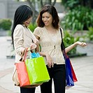 Close_up of two young women carrying shopping bags and smiling