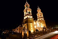 Low angle view of a cathedral lit up at night, Morelia Cathedral, Morelia, Michoacan State, Mexico (thumbnail)
