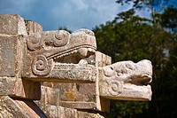 Close-up of two statues of serpent, Chichen Itza, Yucatan, Mexico (thumbnail)