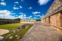 Courtyard of an old ruin building, Cuadrangulo De los Pajaros, Uxmal, Yucatan, Mexico
