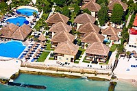 High angle view of tourist resorts on the beach, Playa Del Carmen, Quintana Roo, Mexico