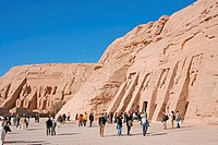 Egypt: Abu Simbel - tourists in front of temples (thumbnail)