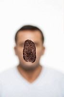 Fingerprint covering man´s face