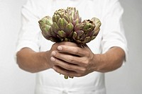 Chef holding artichokes mid section