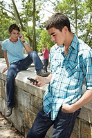 Teenage boys using mobile phones