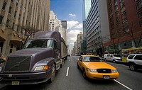 Trailer &amp; cab on the street, Manhattan, NYC, USA