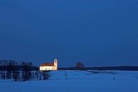 Lyngsjö church by night, Skåne, Sweden