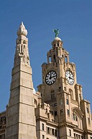 Liver Building and Titanic Memorial, Liverpool, England, UK
