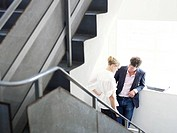 Man and woman on stairs together