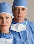 Portrait of senior male and female surgeons