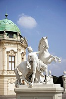 Austria, Vienna, Belvedere Castle, Sculpture with horse