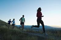 Group of people running on trail, Salt Flats, Utah, United States