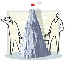 Business men standing near mountain