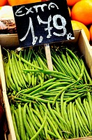 Green beans for sale at La Boqueria market, Barcelona. Catalonia, Spain