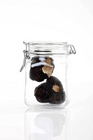 Black Truffles in preserving jar